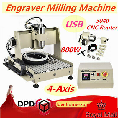 USB 4 Axis 3040 CNC Router Engraver Milling Engraving Machine 800W Water-Cool DE
