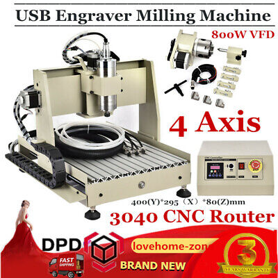4 Axis USB 3040T CNC ROUTER Engraver Mill 800W VFD Engraving Milling Machine new