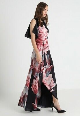 Ted Baker Women Black Floral Maxi Dress Tranquility Size 4 UK 14