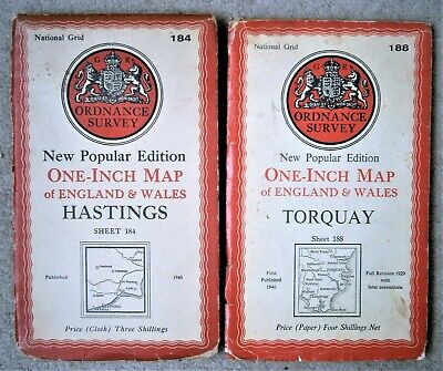MAPS. ORDNANCE SURVEY. HASTINGS 1940 LINEN. TORQUAY 1946 PAPER. Sheets 184 & 188