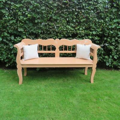 Antique Pine Farmhouse Settle / Country Bench / Pew Seat/ 1880 Rural Worn Paint