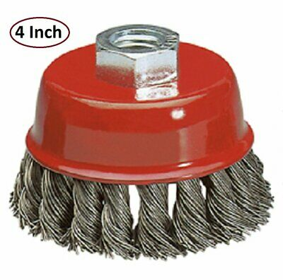 Katzco Wire Wheel Brush Cup - 4 Inches Heavy Duty And Durable Knotted Grinder Br