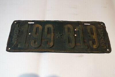Vintage 1927 Texas License Plate Tag 199 819 Ford Chevy Hot Rod