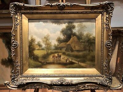 FINE OLD MASTER OIL PAINTING 19th Century's by H B Willock's GOLD GILT FRAME