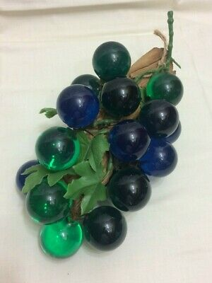 Vtg~Acrylic Lucite Grape Cluster On Driftwood Stem Blue & Greens Mcm Table Decor