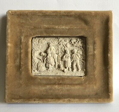 Antique 19th Century C F Becker Limestone Tile/Plaque Framed French