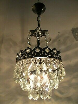 Antique Vintage Basket Style Pretty Chandelier lamp light 1940s 9in diamter