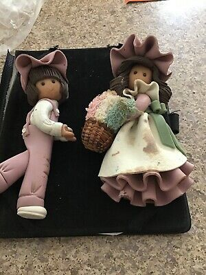 2 Vintage Clay 1986 the bakery belles a Boy and a Girl Wall Hangable 7.5""