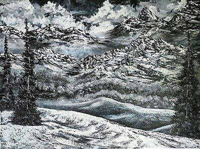 Original Signed Winter Oil Painting 30x40 Canvas Bob Ross Paint & Technique