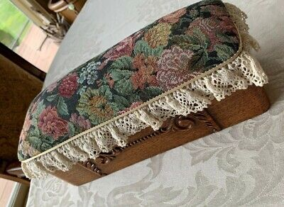 Antique Sewing Wooden Box With Tapestry Pin Cushion Victorian Style Carving