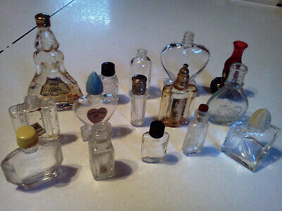 Vintage Lot of 15 Empty Miniature Mini Perfume Bottles As found