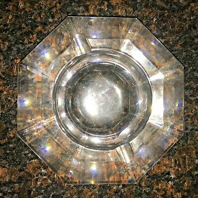 Authentic Vintage Val St Lambert Crystal Ashtray Signed  MVSL Octagon Sided