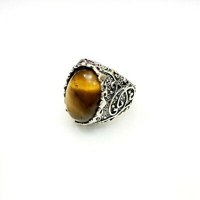 Large Tigers Eye Cabochon Statement Ring Silver Tone Fashion Sz 11 Boho Filigree