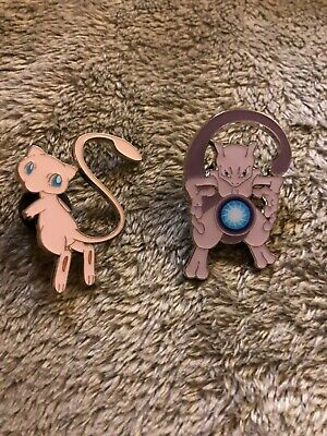 Hidden Fates Mew and Mewtwo Pin from Collection Box Pokemon TCG Both