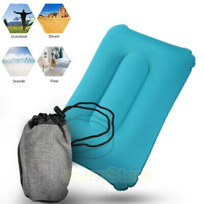 Portable Air Inflatable Travel Backpacking Pillow Neck Head For Camping Airplane