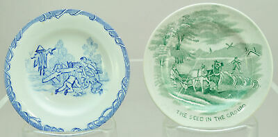 Pair of Antique Blue and Green Transferware Cup Plates circa 1840
