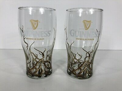 Guinness Pint Glasses With Tree Roots Set Of 2 RARE HTF