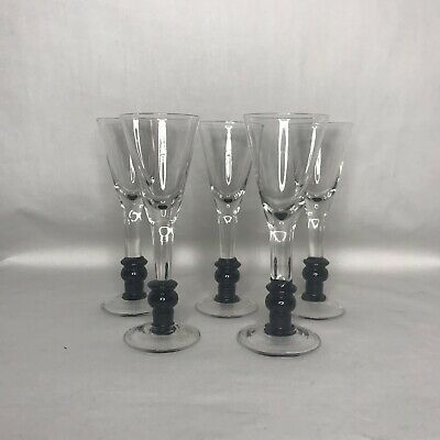 Tequila Rose Black Footed Blown Glass Cordial Liquor Shot Glasses SET of 5 NEW
