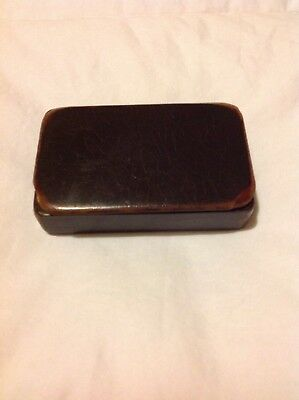 Antique Collectible Miniature Leather Hinged Box