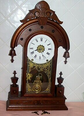 Antique American Timber 8 Day Mantle Clock With Alarm C1895