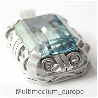 Art Deco Anhänger Silber blauer Spinell n Verneuil silver pendant Aquamarincolor