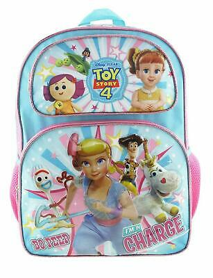 """New Toy Story 4 Featuring Bo Peep 16"""" Full Size Girl School Backpack Side Pocket"""