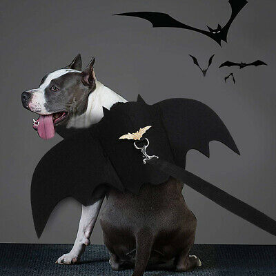 Black Bat Wing Vampire Cute Fancy Dress Up Halloween Pet Dog Cat Costume Gift UK