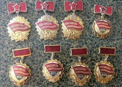 Winner honor socialism competition  Russia USSR CCCP badges medals 1973 - 1980