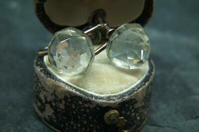 Lovely Antique Victorian Faceted Mirrored Glass & Gilt Metal Screw Back Earrings