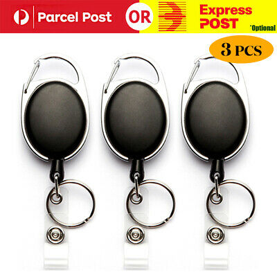 3PCS Retractable Reel Pull Key ID Card Badge Tag Clip Holder Carabiner Style AU