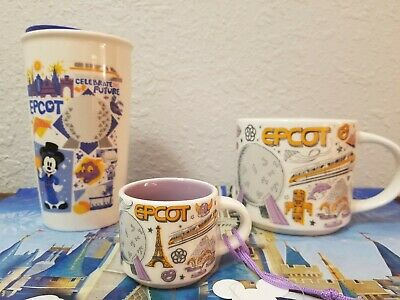 Set of 3 New Starbucks Epcot Been There Coffee Mugs & Ornament Disney Parks