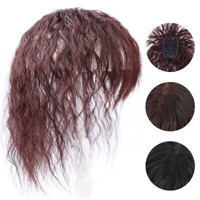 100% Real Human Hair Curly Hairpiece Toupee Replacement Hair Topper For Women