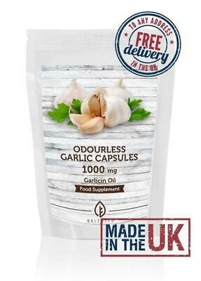 Odourless Garlic 1000mg Oil Extract Softgel Capsules Letterbox Friendly UK