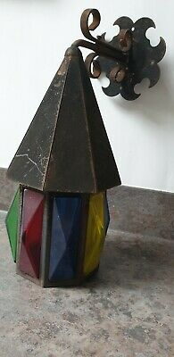 Vintage Stained Glass Panel Light Lantern Outside antique Arts and crafts iron