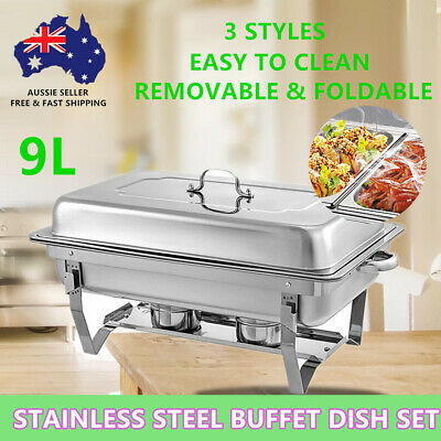 9L Bain Marie Bow Chafing Dish Set Buffet Pan Stainless Steel Food Warmer AU