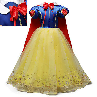 Kid Girl's Princess Snow White Cosplay Halloween Fancy Tulle Dress Costume Party
