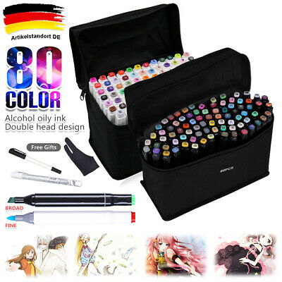 80x Lackmarker Stifte Set Touch Copic Markers Twin Tip Sketch Painting Geschenk