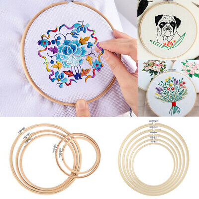 5Pcs Wooden  Embroidery Frame Hoop Ring Set Crafts Cross Stitch Sewing DIY Tool