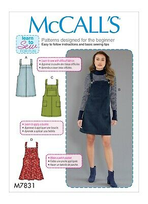 McCall's Sewing Pattern 7831 Misses 12-20 Easy Dresses Jumper or Pinafores