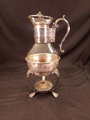 Vintage F. B. Rogers Silver Plated & Glass Coffee Carafe Pot with Warmer Stand.