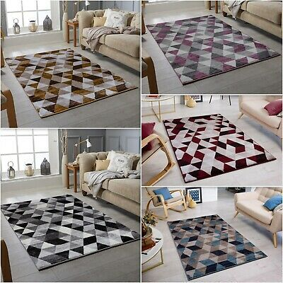 Large Modern Triangles Clearance Geometric Area Cheap Low Cost Rug Sale Runner