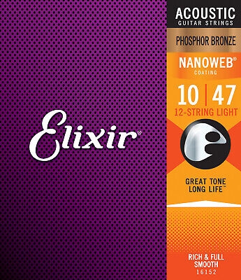 Elixir Strings 16002 Acoustic Phosphor Bronze w/ Nanoweb Coating Extra Light .01