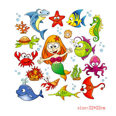mermaid fish clothes patches heat transfer stickers printing iron on applique XM