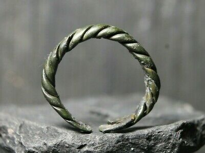 Ancient Viking Bronze Patina Twisted Ring, Antique Artifact, 6th-11th Century AD