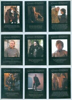 """Complete Quotable Set Q11-Q19"" Game Of Thrones Season 2"