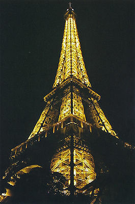 Postcard Eiffel Tower Paris France 2010 NIGHT VIEW Color Travel Photo Post Card