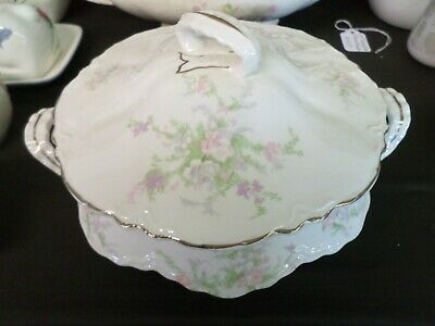 """Homer Laughlin Jean 8"""" Round Covered Vegetable Bowl Pink Flowers Gold Striping"""