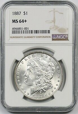 1887 $1 NGC MS 64 + Plus Morgan Silver Dollar