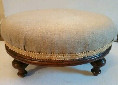 Victorian Large Round Footstool On Turned Legs. Good Quality ! Newly Covered