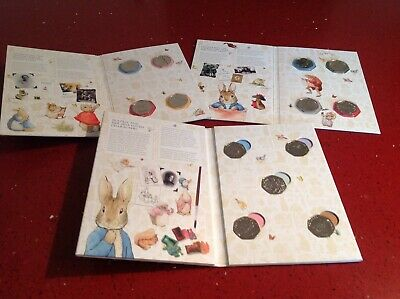 2016 2017 & 2018 Beatrix Potter uncirculated set of 13 coins in 3 pretty Albums